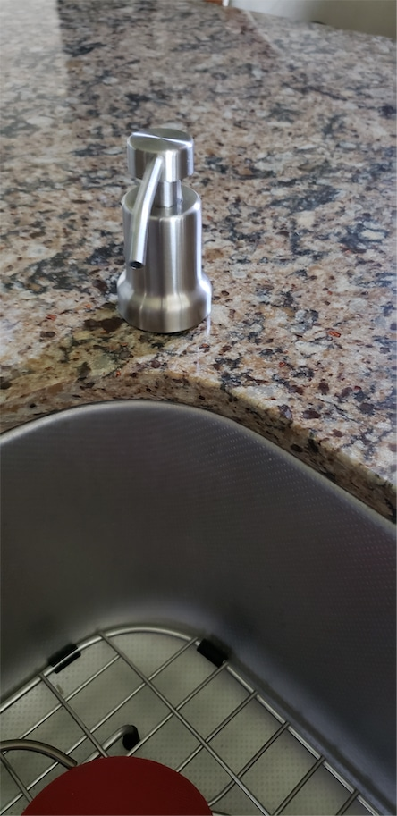 built in foaming soap dispenser installed